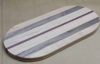 "7"" x 15"" x 3/4"" Flat Sided Oval *Exotic* Multi-wood"